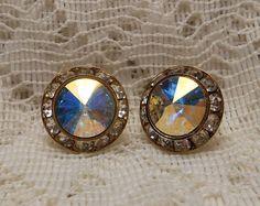 Vintage Rhinestone Glittery Earrings by ViksVintageJewelry on Etsy, $14.99