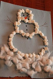 Marshmallow snowman craft - can work on outlining, in, on, under, around, etc concepts! So fun!