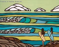 Surf art by Heather Brown - Original paintings & prints - waves, ocean, surf art from hawaii.