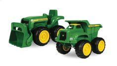 John Deere Sandbox Vehicles. Durable plastic construction Vehicle 2-pack. Free Rolling Wheels