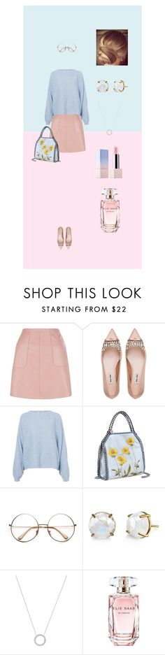 """Quiet girl: pink and blue"" by liruiling ❤ liked on Polyvore featuring New Look, Miu Miu, Rodebjer, STELLA McCARTNEY, Irene Neuwirth, Michael Kors, Elie Saab, Sephora Collection, pencilskirt and serenity"