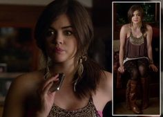 Aria's flower print tights and top with bead details on Pretty Little Liars.  Outfit details: http://wornontv.net/4024/