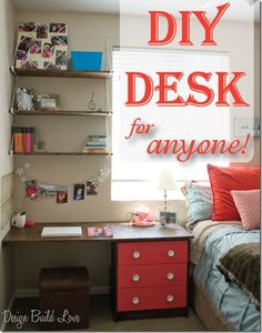 Perfect for studying! Do it yourself desk. #DIY #Student Design Build Love | University of Phoenix
