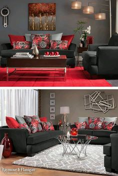 14570236_1109152405828104_8379520960689162996_n.jpg (645×960) Black And Red Living Room, Red Living Room Decor, Red Couch Living Room, Red Living Rooms, Black Living Room Furniture, Red Home Decor, Living Room Pillows, Red Rooms, Living Room Modern