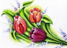 Pintura em Tecido Passo a Passo Com Fotos: Pintura em Tecido Flores Tulipas