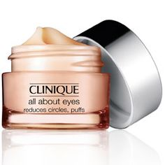"""#clinique All About Eyes - """"Lightweight eye cream diminishes the appearance of eye puffs, darkness and fine lines. Non-creep, cream/gel formula actually helps hold eye makeup in place. For use morning and night, both under eyes and on lids. Ophthalmologist Tested."""""""