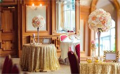 Beautiful Set Up in our Glenview Suite with the help of Provence Wedding Decor! Gold Sequin Tablecloth a huge trend at the moment! Provence Wedding, Sequin Tablecloth, Wedding Decorations, Table Decorations, The Help, Sequins, Beautiful, Gold, Home Decor