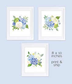 Set of 3 Prints, Floral Watercolor Nursery Prints, Blue Floral, Watercolor Hydrangeas, Boho Nursery Art, PRINTED ART, 8 x 10 inches, Girls Nursery Art, Blue Nursery Art THE ART: This watercolor floral print set features 3 gorgeous 8 x 10 inch prints. Groups of blue hydrangea with ivory and cream roses are accented with hints of purple and yellow accents. Beautiful set of floral prints for a little girls nursery, or sophisticated girls room. YOUR PRINTS: You will be mailed three 8 x 10 inch…