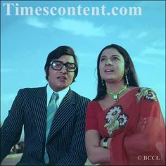 Bollywood Actor Vinod Khanna And Actress Tanuja During A Film Shoot In Bombay