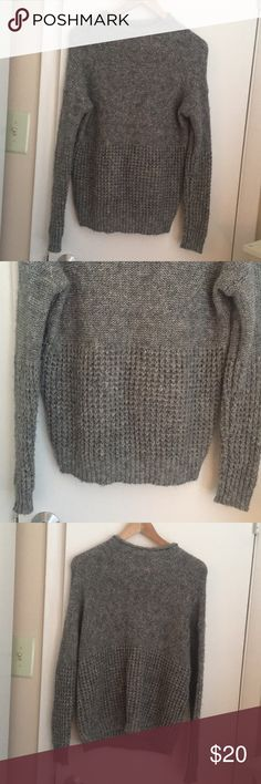 Sweater Grey sweater with two different patterns on it. Took photos so you can see both patterns on the sweater. Any questions please ask American Eagle Outfitters Sweaters