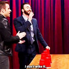 """I've had 3 people walk up to me today and say """"I don't wike it"""".---Chris Evans. <----Love it"""