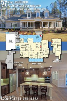 Architectural Designs Country House Plan 360014DK | 3 – 4 Beds | 4.5 Baths | 3,900+ Sq.Ft. | PLUS Bonus Over the Garage! Ready when you are. Where do YOU want to build? #360014DK #adhouseplans #architecturaldesigns #houseplan #architecture #newhome #newconstruction #newhouse #homedesign #dreamhome #homeplan #architecture #architect #housegoals  #house #home #design #southernliving #southernhome #countryliving #sideload garage #colonialhome