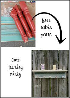 table parts make great jewelry shelf MyRepurposedLife.com