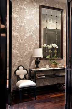 taupe black cream and damask... love this wallpaper, wish it was a fabric!!!