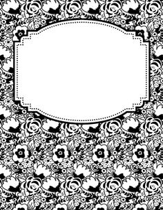 Black and White Flower Binder Cover