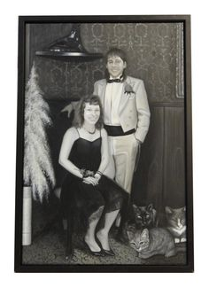 Portrait of a couple in their home with their three cats. Three Cats, 2nd City, Art Themes, Architectural Salvage, Close Image, Good News, Wall Art Prints, Art Decor, Wild Women