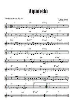 Aquarela - Toquinho e Vinícius de Moraes - Partitura para Teclado   Violão + Vídeo Bassoon, Oboe, Violin Music, Piano Sheet Music, Music Studio Room, Music Score, Sweet Memories, Music Education, Pop Music