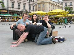 One day we decided to drink coffee on our own sofa in the middle of Krakow market square.