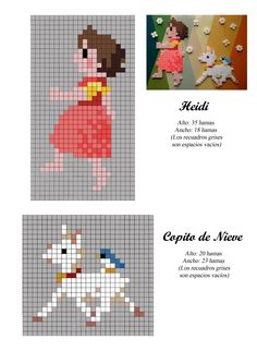 Heidi amd goat cross stitch or hama perler beads pattern