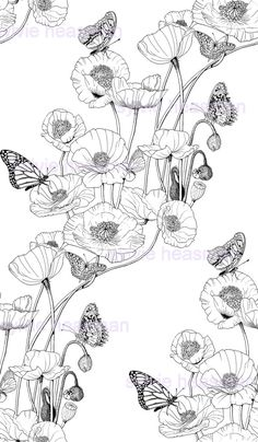 Black and White Poppies and Butterflies. by SylviesArtOnFabric, $13.00