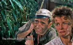 The African Queen with Humphrey Bogart and Katherine Hepburn, filmed in 1951 and released Bogart And Bacall, Humphrey Bogart, Queen Movie, Movie Club, William Powell, Old Hollywood Movies, Turner Classic Movies, Katharine Hepburn, Bride Of Frankenstein