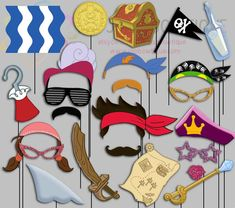 Pirate Party Photo Booth Props Jake and the by IraJoJoBowtique