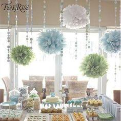 FENGRISE 3 pcs 20 25 30 cm Tissue Paper Pom Poms Pernikahan Ulang Tahun Dekorasi Pesta Anak Crepe Bunga Karangan Bunga Buatan bola