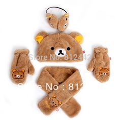 1 SET!!!UNIQUE!! FREE SHIPPING plush Bear Rilakkuma HATS +GLOVES+SCARF+Earmuffs…