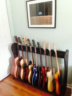 Guitar Stand - Always Wanted To Learn Guitar? Guitar Shelf, Guitar Storage, Guitar Cabinet, Guitar Rack, Diy Guitar Stand, Wooden Guitar Stand, Guitar Display, Music Furniture, Diy Furniture