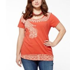 Lucky Brand Tee Dark orange. In good condition. Nice to wear with some jeans! Lucky Brand Tops