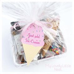 Just Add Ice Cream Hampers - Melanie Costa - Beyond Binary Diy Eid Gifts, Party Gifts, Cool Gifts, Unique Gifts, Ice Cream Theme, Ice Cream Party, Diy Gift Baskets, Gift Hampers, Diy Gift Box