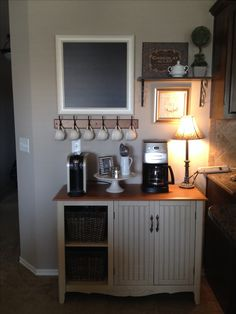 Coffee bar in home - perfect! need the big closing doors underneath but like the small shelves
