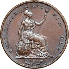 Great Britain. Penny, 1841-OT. NGC MS63 S.3948; KM-739. No Colon. Victoria. Obverse: Wyon's classic 'Young Head' portrait of the Queen. : Britannia seated with ornamental trident. Lovely glossy surfaces which are free of blemishes, and a delicate tone. A scarcer date. Estimated Value $175 - 200. #Coins #MADonC