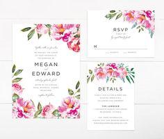 Printable Wedding Invitation Set Peonies Flower Wedding