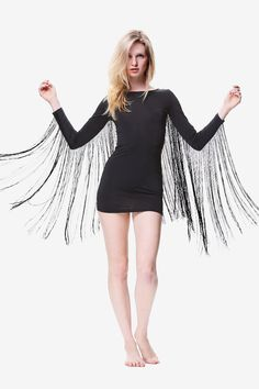 Black Fringe Bodycon Mini Dress// Long Sleeve by GenuinePeople
