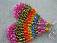 Seed Bead Earrings - Blue, Pink, Yellow,Orange and Green - small Teardrop Dangle. $17.00, via Etsy.
