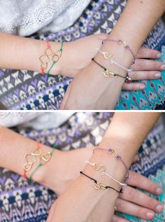 Learn to make a trendy DIY String Bracelet with delicate wire shapes. Easy and perfect for stacking!