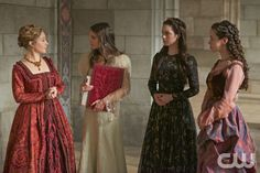 "Reign -- ""Tasting Revenge"" -- Image Number: RE216a_0015.jpg -- Pictured (L-R): Megan Follows as Catherine de Medici, Caitlin Stasey as Kenna, Adelaide Kane as Mary, Queen of Scotland and France and Anna Popplewell as Lola -- Photo: Sven Frenzel/The CW -- © 2015 The CW Network, LLC. All rights reserved.pn"