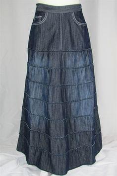 Feminine Fringe Long Jean Skirt | My Style | Pinterest | Feminine ...