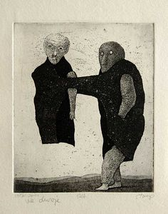 'The Two of Us' (1987) by Lithuanian artist Stasys Eidrigevicius (b.1949). Etching/aquatint, 15 x 12.5 cm. via the artist's site