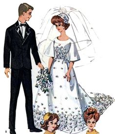Bridal Gown Tuxedo PATTERN for Barbie Ken Vtg Doll by BlondiesSpot