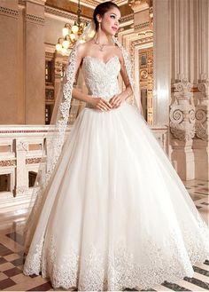 Glamoroso de tul de novia de escote dejó caer la cintura de la bola vestido de…