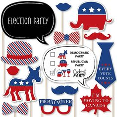 Political 2020 Election Party and Political Events Photo Booth Prop Kit Picnic Themed Parties, Election Night Party, American Party, Big Dot Of Happiness, Patriotic Party, Blue Party, Photo Booth Props, Party Invitations, Party Supplies