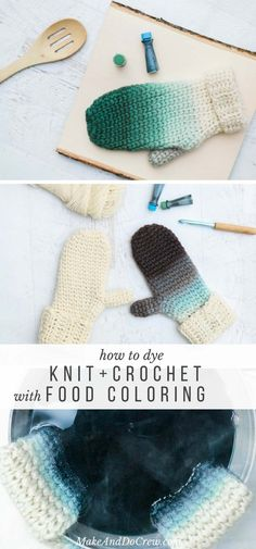 How fun! Creating an ombre effect on any knit or crocheted wool item is easy using just some basic supplies. Learn how to dye yarn with food coloring in this easy video tutorial featuring Lion Brand Fishermen's Wool. via @makeanddocrew