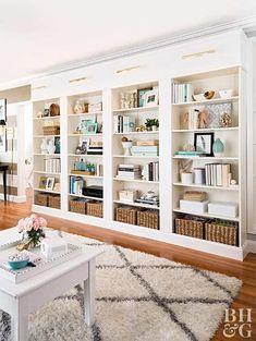 55 Trendy home library wall house Diy Bookshelf Wall, Bookshelves Built In, Bookcase Shelves, Billy Bookcases, Ikea Bookshelf Hack, Bookshelf Lighting, Built In Shelves Living Room, Floor To Ceiling Bookshelves, Built Ins