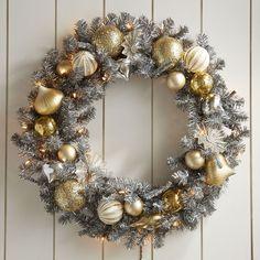 Pre-Lit Steel-Tone Wreath