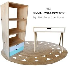 Emma Collection  - Bookshelf and Desk Handcrafted by RAW Sunshine Coast from reclaimed hoop pine  www.rawsunshinecoast.com.au