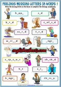 Feelings Emotions Esl Printable Missing Letters in Words Worksheets For Kids
