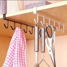 Under Shelf Mug Holder Tea Cup Storage Hanging Rack Metal Organizer - Fi