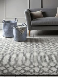 Individually hand woven from pure wool in off-white, with a soft blue-grey geometric pattern, each of our large Estelle Rugs is entirely unique thanks to the craftsmanship required to make each piece. wool creates a durable rug with a beau Rugs In Living Room, Living Room Decor, Beni Rugs, Blue Rooms, Contemporary Rugs, Soft Furnishings, Home Decor Accessories, Slate, Pure Products